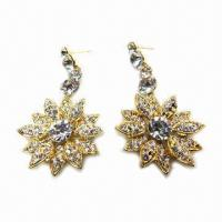 Wholesale Fashionable Stud Earrings, Flower-shaped, Golden Plating from china suppliers