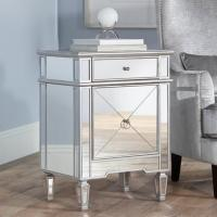 China Wooden Trimming Mirrored Side Tables For Bedroom  Gold / Silver Optional on sale
