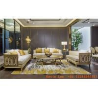Wholesale Luxury villa interior furniture custom made high end fabric sofa set 123 light luxury hand made leaf for wood structure from china suppliers