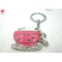 China Pink Cup Shape Key Chain Holder With Diamonds , Pretty Decorative Keychains on sale