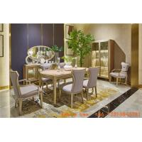 Wholesale Light luxury dining room furniture Nice wood table with Leather dining chairs for Villa home interior design furniture from china suppliers