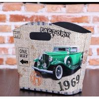 China Antique Style green cars design PU Decoration Basket faux leather small hanging Magazine & Newspaper Storage Baskets for sale