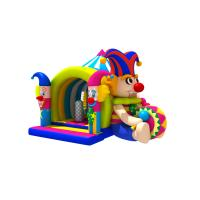 China Lovely Circus Clown Kids Inflatable Bounce House With Slide / Blow Up Jumpers for sale