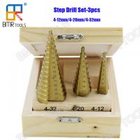 Wholesale Hot Sells 3PCS HSS M2 Step Drill Bit Set Ti-Coating Straight Flute Packed with wooden box 4-12mm/4-20mm/4-32mm from china suppliers