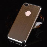3 in 1 Hard PC Plating Border Wood Grain Cell Phone Case Cover For iPhone 7 7 Plus 6 6s Plus for sale