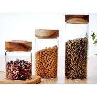 Wholesale Clear Custom Glass Food Storage Jars For Beans With Wood Lid , Longlife from china suppliers