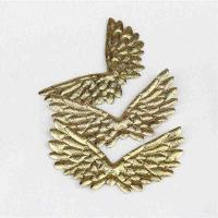 China Multi Color Iron On Embroidered Patches Shiny Gold Eagle Wings Craft for sale