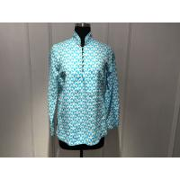 Quality Silk Printed Loose Womens Tops Blouses Stand Collar With Special Buttons for sale