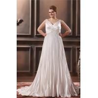 Wholesale Glamorous V Neck Satin Ruffle Ivory Plus Size Designer Wedding Gowns With Applique from china suppliers