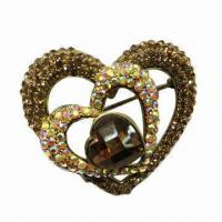 Wholesale Two Hearts-shaped Metal Brooch with Gold Plating from china suppliers