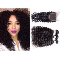Wholesale Long Deep Curly Weave With Closure / Dyed Brazilian Remy Deep Curly Weave from china suppliers
