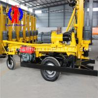Wholesale Wheeled pneumatic well drilling rig trailer type frame impact well wheel type pneumatic 200m drilling machine from china suppliers