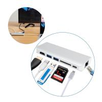 China Multiport USB-C Hub with Type C pass-through charging,adapting USB 3.1 Type C to LAN HDMI 2 USB 3.0 Type A SD Card slot on sale