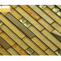 Wholesale TV Backgound Wall Strip Gold Mosaic Tiles , Metal And Glass Mosaic Tile from china suppliers