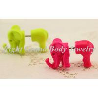 Wholesale Green Pink Fake Ear Plug Earrings With Alloy Elephant For Girls from china suppliers