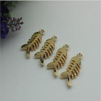 Small light gold fish bones pattern zinc alloy metal handbag logo label tags for sales for sale