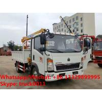 China SINO TRUK HOWO 2tons telescopic boom mounted on truck for sale, HOT SALE! best price HOWO 2tons truck with crane for sale
