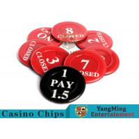 China Red / Black  Anti - Fade Casino Game Accessories 40 Mm Plastic Insurance Code Set on sale