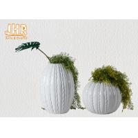 Wholesale Round / Oval Fibreglass Plant Pots Glossy White Gold Leaf Finish Line Surface from china suppliers