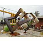 China Unique Design Tidy Metal Art Sculpture Of Cube Modern Art Shape As Garden Decor for sale