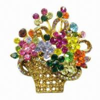 Wholesale Colorful Basket Flowers-shaped Brooch with Shiny Rhinestones from china suppliers