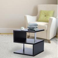 China Wooden S Shape Cube Coffee Table 2 Tier Storage Shelves Display (Black) on sale