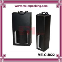 Wholesale Doubel wine bottles paper box with cotton string handle, black corrugated box ME-CU022 from china suppliers