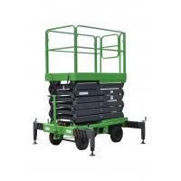 China 7.5 Meters Manual Pushing Mobile Scissor Lift X-Lift Platform In Green Color for sale