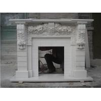 Wholesale White Marble Fireplace Mantels with flower carving from china suppliers