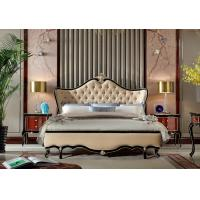 Wholesale Villa house Luxury furniture factory for sale in black painting frame with Leather upholstered King size Bed from china suppliers