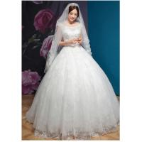 China Winter Thick Bridal Princess Wedding Gowns With Luxurious Lace Skirt on sale