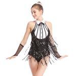 China Black-White Stunning Tap Costume Sequined-Fringes Mock Neck Dance Dress Performance Wear for sale