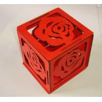 Wholesale wood gift box self assembled 105mm painted red wood box with rose pattern from china suppliers