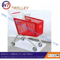 Wholesale Sprayed With PU Wheels Red And Green Plastic Shopping Carts For Customers from china suppliers