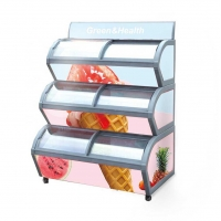 China Commercial Supermarket Curved Double Glass Door Chest Deep Freezer Food Display Showcase Refrigerator Ice Cream Fridge on sale