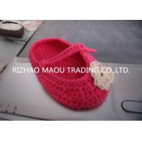 Quality 6cm Red Crochet Baby Shoes Flower Decoration Handmade Knitted Baby Slippers for sale