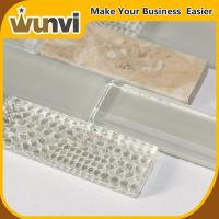Wholesale Glass and Stone Strip Mosaic Tile For Kitchen Backsplash , stone glass mosaic tile from china suppliers