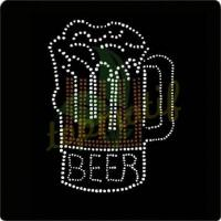China Hot Sale Beer Hot Fix Rhinestone Bling Heat Motif for T-shirt on sale
