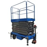 China 9 Meters High Mobile Scissor Lift Aerial Work Platform 500Kg Loading Capacity In Blue for sale