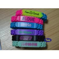 Colorful Braided Personalized Rubber Bracel Embossed 200 * 13 * 6mm for sale