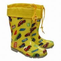 China Boy's translucent PVC rain boots with lovely cars pattern, plus removable socks lining keeps warm on sale