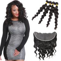 Wholesale 8A Double Weft Indian Human Hair Bundles Loose Wave With Lace Frontal from china suppliers