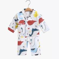 Wholesale Jacquard Muslin Baby Pajamas Sleepwear Long Sleeves 100 Cotton MBP 003 from china suppliers