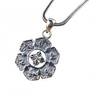 Wholesale Women and Men Retro Sterling Silver Buddhist Sutras Pencant Charm Necklace (SY12299) from china suppliers