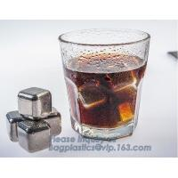 Wholesale 4pcs/set plastic box ice cube chilling stone set, FDA LFGB Stainless Steel Ice Cube Whisky Stone bar accessories, bageas from china suppliers