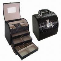 Wholesale Jewelry Box, Ideal for Gift, with Crolodile Texture Faux Leather Wrapped Handle and Three Drawers from china suppliers