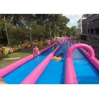Wholesale Huge Commercial Inflatable Slip And Slide Double Lane In Pink from china suppliers