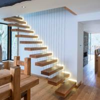 Wholesale Modern Decorative Floating Wood Stairs with Invisible Stringer Stainless Vertical Rod Railing from china suppliers