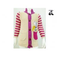 Wholesale Girls Cotton Cardigan Knit Sweater Striped Sleeves Stand Up Collar Soft and Warm from china suppliers
