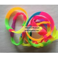 Rainbow rubber bracelets, rainbow silicone wristbands, soft rubber bands for sale